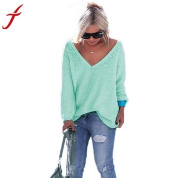 Women Long Sleeve Knitted Pullover Loose Blouse Tops Knitwear Solid 6Colors Cotton Womens Plus Size Tops & Blouses #R25Y1