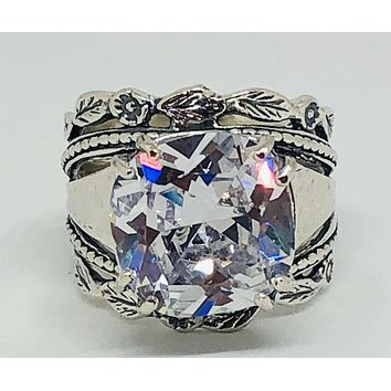 A Flawless Handmade Floral 5.8CT Round Cut Lab Diamond Engagement Ring