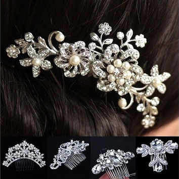 Bridal wedding Bridal Wedding Flower Crystal Rhinestones Pearls Women Hair Clip Comb Diamante [7981084935]