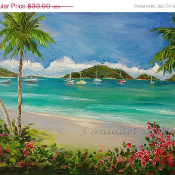 ON SALE OIl Painting print of Tropical Landscape Coastal Decor Impressionism
