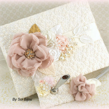 Wedding Guest Book Pen Set Signature Book in Blush Pink, White, Gold and Ivory with Lace, Pearls and Handmade Flowers
