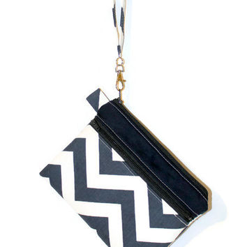 Chevron Wristlet, double zipper bag,  padded cell phone bag, zippered gadget case, gadget bag, cell phone wristlet, bridesmaid pouch.