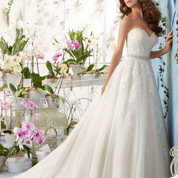Alencon Lace Appliques with Crystal Beading on the Tulle Morilee Bridal Wedding Dress | Style 5414 | Morilee