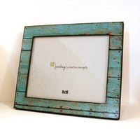 8x10 Wood Photo Frame Weathered Rustic Turquoise