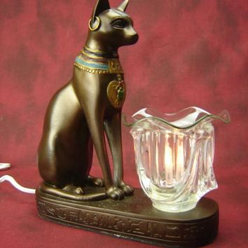 Cat Table Fragrance Aroma Lamp Oil Diffuser Wax Tart Candle Warmer Burner Home Decor