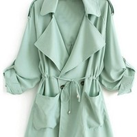 Mint Green Rolled Tab Long Sleeve Drawstring Waist Two Pocket Epaulet Trench Coat Jacket