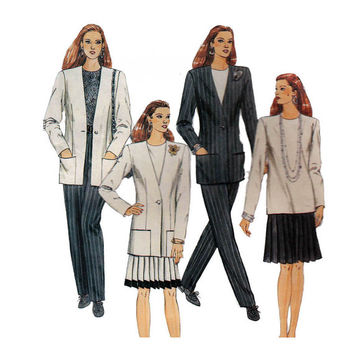 "1990's McCall's 6174 Womans' Unlined Jacket, Top, Skirt and Pants Size 8-10-12 || Bust 31 1/2-34""/ 80- 86cm 