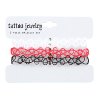 Red Black And White Tattoo Bracelet Set