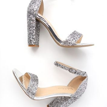 Perrie Silver Glitter Ankle Strap Heels