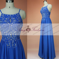 Unique Royal Blue Prom Dress Long Prom Dresses 2015 Spaghetti Strap Backless Evening Dress Graduation Gown Chiffon Homecoming Dress