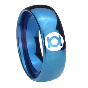 8MM Glossy Blue Dome Green Lantern Tungsten Carbide Laser Engraved Ring