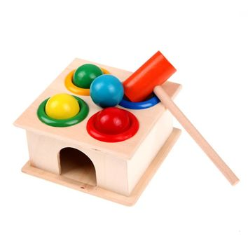 1Set Wooden Playing Hamster Game Toy Hammering Ball Hammer Knocking Box Baby Kids Early Learning Educational Toy
