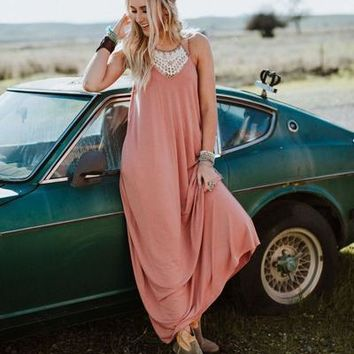 Perfection Pocket Maxi Dress - Dusty Rose