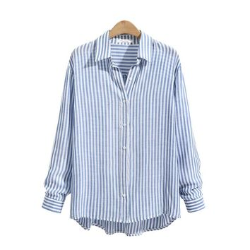 Fashion Women Striped Long Sleeve Asymmetrical Hem Tops Shirt Blouse Autumn Female Lapel Buttons Down Casual Baggy Top Blusas