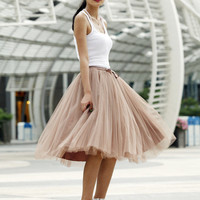 Tulle Skirt high quality Tutu Skirt Elastic Waist tulle tutu Princess Skirt in Kahki - NC455