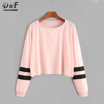 Dotfashion Varsity Striped Sleeve Crop Tee 2017 Autumn Pink Round Neck Long Sleeve Casual T-shirts Women's Cute T-shirts
