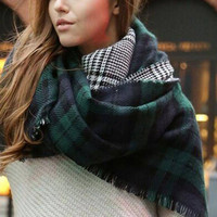 YOINS 2016 Scarf Women Winter Warm Fashion Tartan Scarves Plaid Cozy Checked Blanket Oversized Wrap Shawl