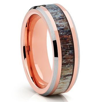 6mm - Deer Antler Wedding Band - Wedding Ring - Rose Gold - Tungsten