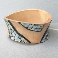 Amorphous Modernist Inlaid Paua Shell Abalone Bamboo Wood Vintage Bangle Bracelet, Signed