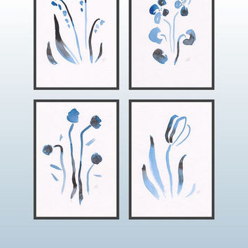 Art set of four watercolor illustrations. Abstract watercolor flower sketches. Modern home decor. Blue tulip, violet, lily-of-the-valley.