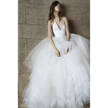 Fashionable Halter Sleeveless Satin Puffy Tulle Applique Ball Gown Wedding Dress New Arrivals Alternative Measures - Brides & Bridesmaids - Wedding, Bridal, Prom, Formal Gown