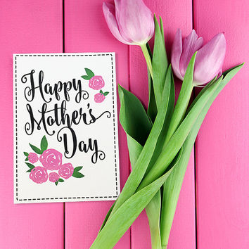 Happy Mother's Day Card - Mother's Day Gift Card - Pink Rose Mother's Day Card - Mother's Day Card - Watercolor Greeting Card For Mom