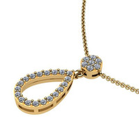 Diamond Tear Drop Necklace Pendant Wedding Bridal Set  Holiday Birthday Gift 14K Yellow Gold Necklace With Natural White Diamond  - V1113