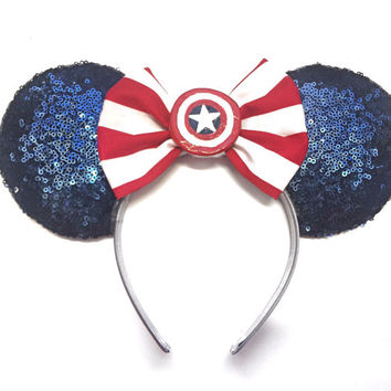 Captain America Ears, Sequin Ears, The Avengers Ears, Marvel Ears, Captain America Minnie Ears, Mickey Ears