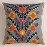 Gray Leaves and Blooms Throw Pillow - World Market