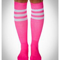 Neon Pink with White Stripe Knee High Socks