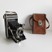 "Old french belows camera, brand"" Lumière"", 1930."