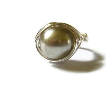 Silver and gray pearl wire wrapped ring Spring gift for her