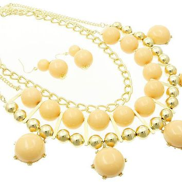 Peach Lucite Stone Chunky Link Necklace And Earring Set