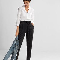 High Waisted Ticking Stripe Sash Waist Ankle Pant