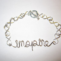 Silver Inspire Infinity Bracelet Wire Wrapped Inspirational - Mixed Materials