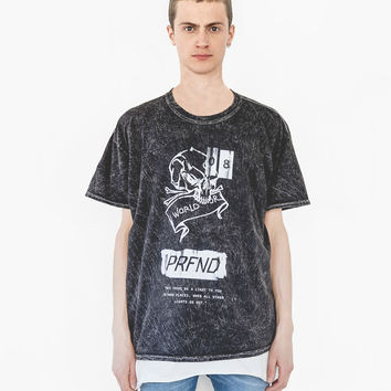 Light in Dark Places Distressed Acid Washed Tour Tee in Black Mineral Wash