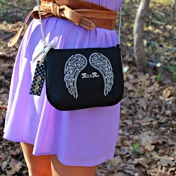 Miss Me Angel Wings Crossbody Purse - Black