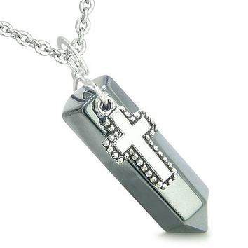 Amulet Crystal Point Holy Cross Charm Hematite Gemstone Spiritual Positive Pendant Necklace