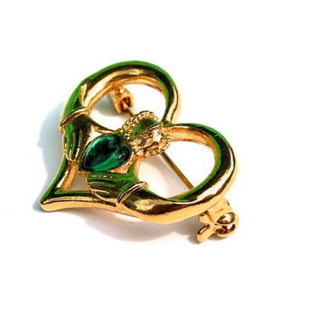 Vintage Claddagh Brooch,Celtic Heart Brooch,Gold Tone with Green Stone,Signed NR Brooch,Nancy & Rise, Vintage Pin,St. Patricks Day,Irish Pin