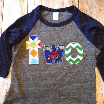 Farm Tractor Shirt Birthday navy grey Raglan Royal Blue Number two Birthday Number on Birthday Shirt cow truck animals 2 boys 2nd