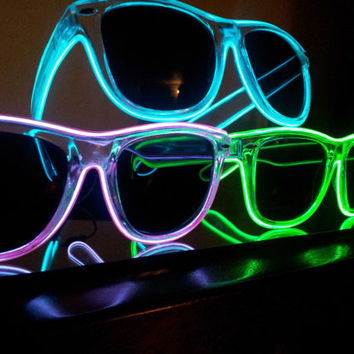 3 Light up sunglasses, rave glasses, diffraction glasses