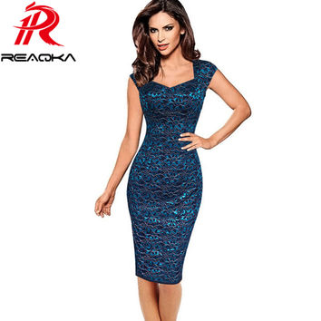 Reaqka 2017 Plus Size Summer Dress Autumn Womens Elegant Embroidery Flower Vintage Sleeveless Office Casual Party Pencil Dresses