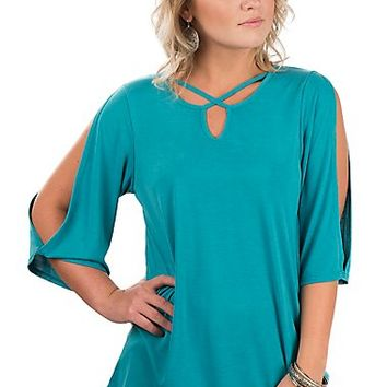 R. Rouge Women's Teal Open Sleeve Fashion Shirt