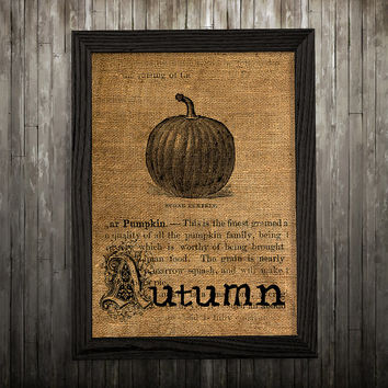 Burlap print Pumpkin poster Kitchen decor Food print BLP792