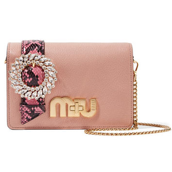 Miu Miu - My Miu embellished watersnake-trimmed textured-leather shoulder bag