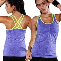 Sexy Pro Compress Fitness Workout Tank For Women Top Exercise Runs Yogaing Clothing T-Shirt Vest Gymming Sporting Female Tee