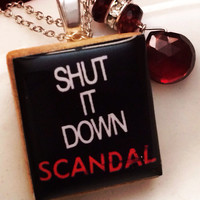 "SCANDAL ""Shut It Down"" Scrabble Tile Sterling Silver Necklace"