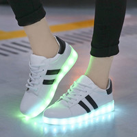 shoes women Male and female couple models with flat LED light shoelace recreational USB charging function No logo