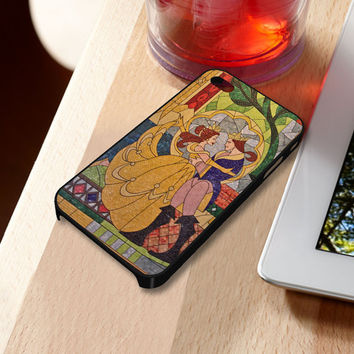Prince Beast and Belle Stained Glass iPhone 5 iPhone 4 / 4S Plastic Hard Case Soft Rubber Case