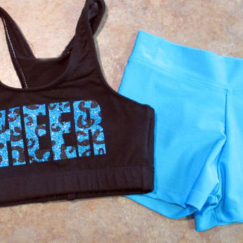 Custom Glitter & Leopard Cheer Set - Sports Bra and  Hot Shorts - Dance Gymnastics - Multiple Color Options